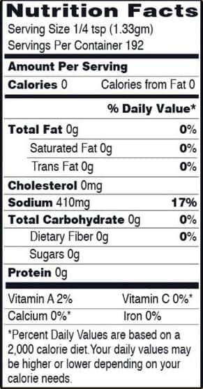 Bobby's Everyday Blend Seasoning Nutritional Information